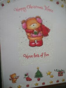 Happy Christmas NIECE Have Lots of Fun (Bear Wrapped Up in Snow) Large Card