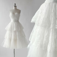 Vintage 50s floral lace tulle tiered white Wedding dress XS