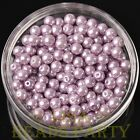 New 50pcs 6mm Round Glass Pearl Loose Spacer Beads Jewelry Making Baby Purple