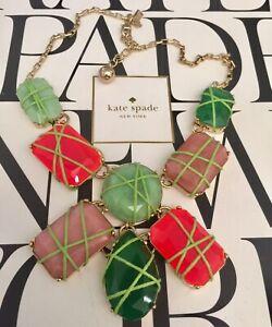 Kate Spade POP GARDEN SEMI-PRECIOUS Green Pink Purple Statement Necklace $328