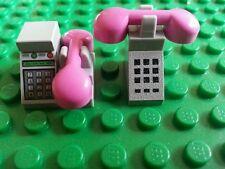 Lego Custom PHONES X2 Receivers Wall Phone Pink Friends Belville Trees Flowers