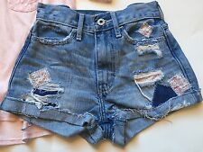 EUC Abercrombie Kids Floral Patch Destroyed High Waist Shorts 10
