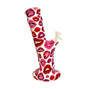 """Sexy Pink Red Lips Kiss 10"""" Hookah Smoking Water Pipe Bubbler w 14mm Glass Bowl"""