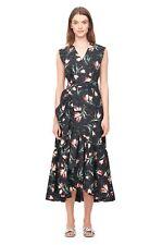 NWT Rebecca Taylor Ikat Tulip Poplin Wrap Midi Dress, Black, 4