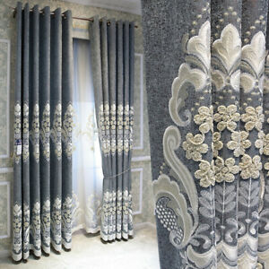 European court embroidered luxury gray cotton linen thick cloth curtain B266