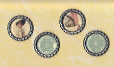 Graphic45 A LADIES' DIARY #110 (4) Black Flat Bottle Cap Accents HANDMADE