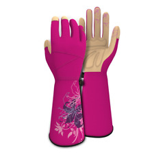 Vgo Ladies Synthetic Leather Long Cuff Rose Garden Yard Gloves Small Size Red