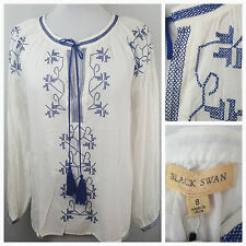Black Swan Womens Peasant Top Small S White Blue Cross Stitch  NWT