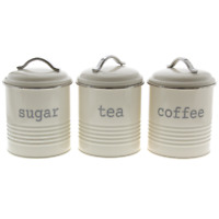 3 Storage Kitchen Canisters Tea Coffee Sugar Airtight Seal Cream with Handles