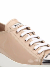 MIU MIU ICONIC NUDE PATENT PLATFORM LOGO METAL TOE SNEAKERS EU 40 I LOVE SHOES