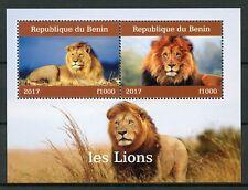 Benin 2017 CTO Lions 2v M/S II Big Cats Wild Animals Stamps
