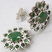 925 STERLING Silver EMERALD Stud Earrings 1.4CM JEWELRY