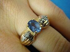 14K YELLOW GOLD TANZANITE AND DIAMOND RING 6 GRAMS SIZE 7 3/4