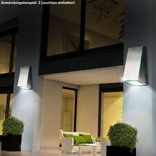 2-er Set LED Haus Wand Strahler Edelstahl Hof Außen Leuchte Terrassen Down Lampe