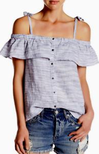Lucky Brand Space Dye Linen Ruffle Shirt L NWT $79.50