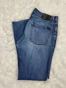 Lacoste Distressed Faded Medium Wash Blue Denim Jeans Men's Size 36