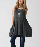 Charcoal Grey Top Size 8 Ladies Womens Sleeveless Long Tunic With Pockets