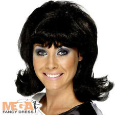 BLACK 60s flick-up Parrucca Donna Costume Anni'60 Hairspray Costume Accessorio Nuovo