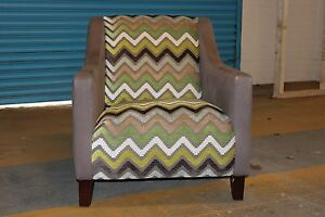 A CONTEMPORARY, WADENHOE GREEN AND BROWN CHEVRON ARMCHAIR