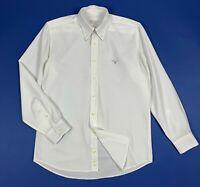Barbour camicia uomo usato M shirt man used luxury bianco cotone maglia T6232