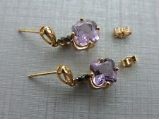 9ct Yellow Gold Amethyst and sapphire stud earrings excellent preowned condition