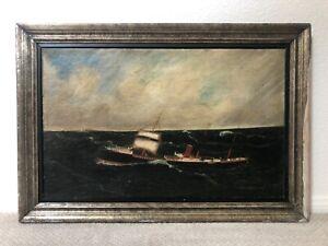 🔥 Antique 19th c. American Folk Art Oil Painting, Nautical Ship, New England