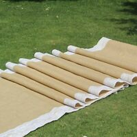 """Burlap wed Aisle runner 40 Inch X 50 feet , 5"""" White lace attached on both edges"""