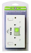 DOPPIA presa a muro con caricabatterie USB TWIN VELOCE PORTE 2 Gruppo presa commutata Piastra