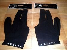 (2) FELICE N.I.C. BILLIARDS USA Pool Cue Gloves 3 Finger Glove BLACK New