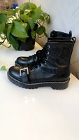 ZARA LADIES BLACK LEATHER FLORAL EMBOSSED BUCKLE BOOTS SIZE UK 8 / 41