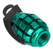2pcs Bicycle Metal Grenade Shaped Tyre Valve Dust Cap Cover - Green HY