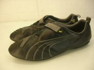Mens 10.5 M Puma Klim R ER Sneaker Shoes Climb Black Gray Leather Slip-On Loafer