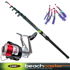Telescopic Beachcaster Fishing Rod NGT 12ft + Reel Sea Beach + Mackerel Feathers