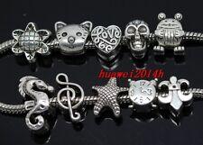 Wholesale 100pcs Tibetan Silver Bulk Lots big hole Mix Beads Fit Charm Bracelet