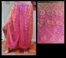 Harem Pants Belly Dance Fuchsia Pink w/ Gold Brocade Slit 5