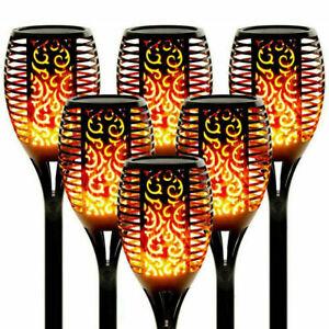 2/4/6PACK Waterproof Solar Flame Light Flickering LED Torch Home Garden Lamp UK