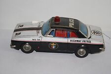 Vintage Tin Battery Operated Highway Patrol Police Car No. 56