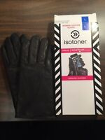 ISOTONER Women Genuine Leather SmarTouch Gloves, BLACK Size L openbox...New