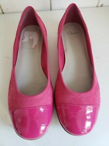 CLARKS SIZE UK 7 EU 41 WOMENS PUMPS LOAFERS FLAT BALLET PINK LEATHER SHOES