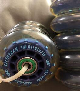 8 Hyperlite Inline Roller Skate Wheels 76mm 78A Recreational Hyper