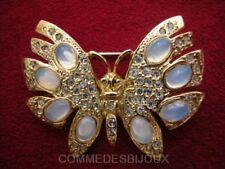 """Broche """"Papillon en Découpe"""" Blanc Laiteux Nuit Jour - Bijoux Vintage Sphinx"""