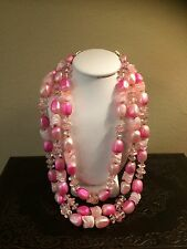 Vintage Hong Kong Signed Chunky Pink Beads Triple Strand Hook Clasp Necklace