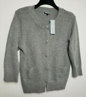 DEBENHAMS WOMENS JUMPER CARDIGAN UK 18 GREY 3/4 SLEEVE ANGORA WOOL BLEND 444