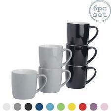 6x Tea Coffee Mugs Set - 350ml - Ceramic - Black & Grey