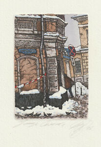 "Original Etching ""Snow in the city"" by DERGILJOVA ALJONA / Russia"