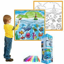 Kids Washable Coloring Play Mat w 12 Washable Markers Multiple Options