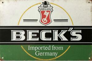 BECKS BEER Rustic Look Vintage Tin Metal Sign Man Cave, Shed-Garage & Bar