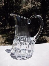 VTG Cut CRYSTAL Glass WINE Water Juice PITCHER Etched Clear