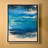 High Tide | Blue & White Abstract original modern acrylic painting | ships free