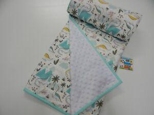 Baby Blanket Dinosaurs on White Cot Size 115cm x 100cm Minkee Dot Back